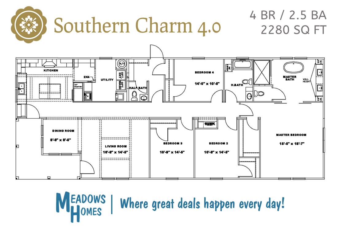 Southern Charm 4 BR Floorplan