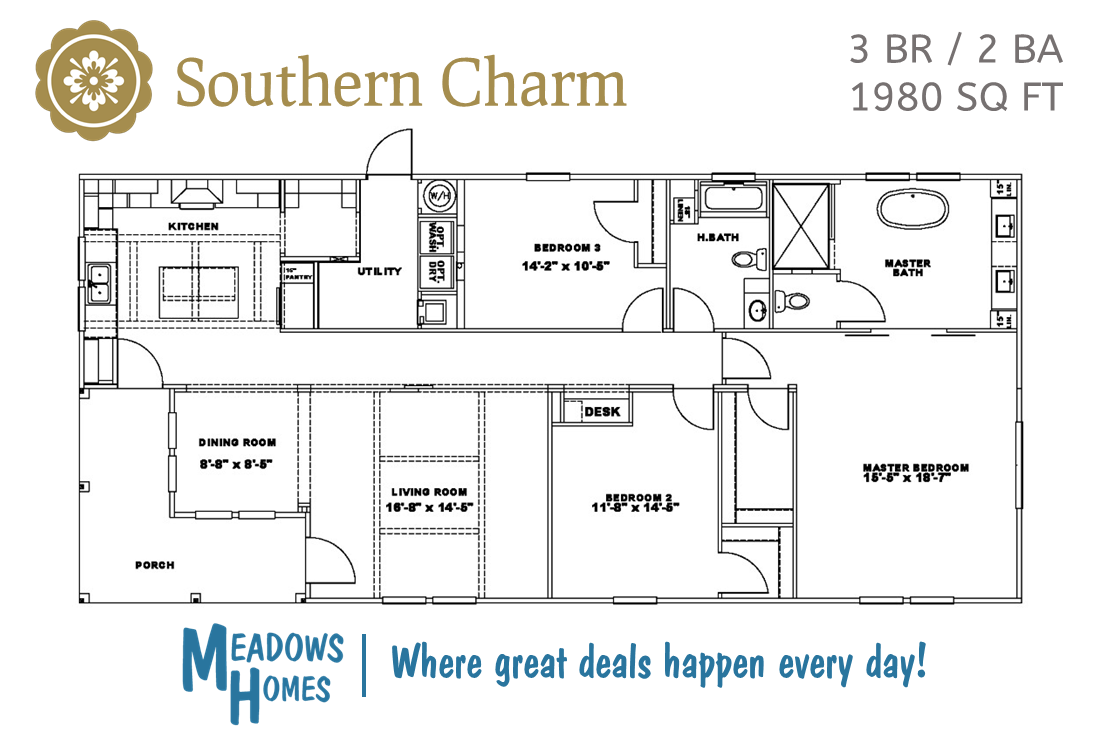 Southern Charm 3 BR Floorplan
