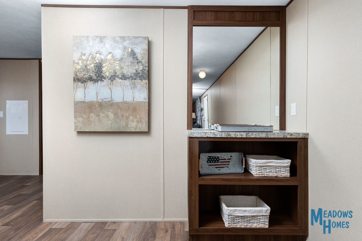 Built-In Hall Bookcase & Mirror