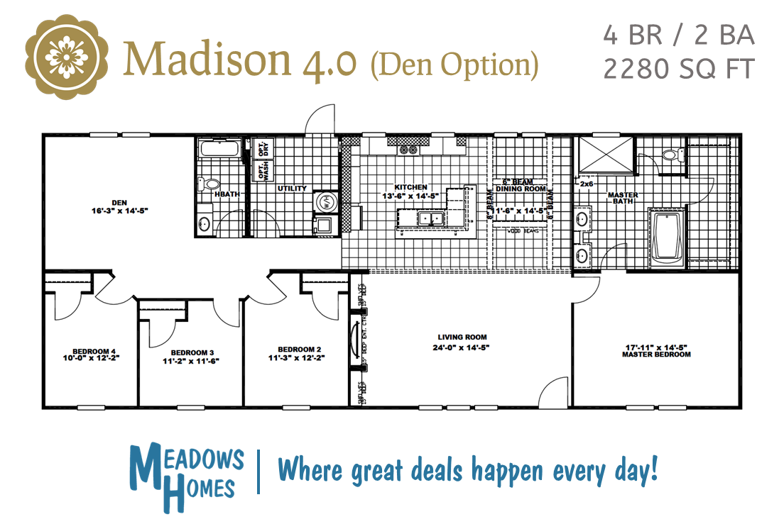 Madison 4 BR Floorplan - Den Option