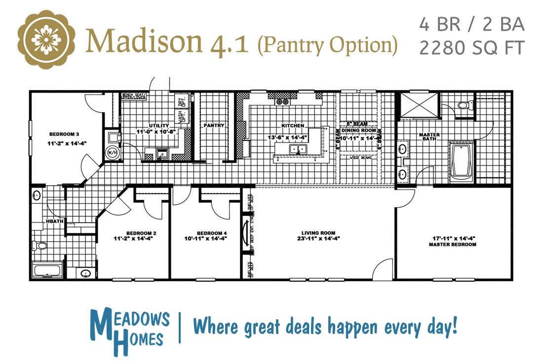 Madison 4 BR Floorplan - Pantry Option