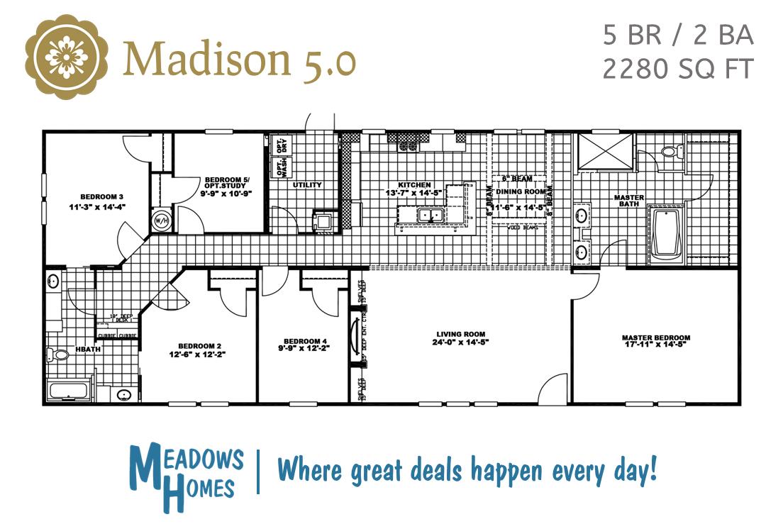 Madison 5 BR Floorplan