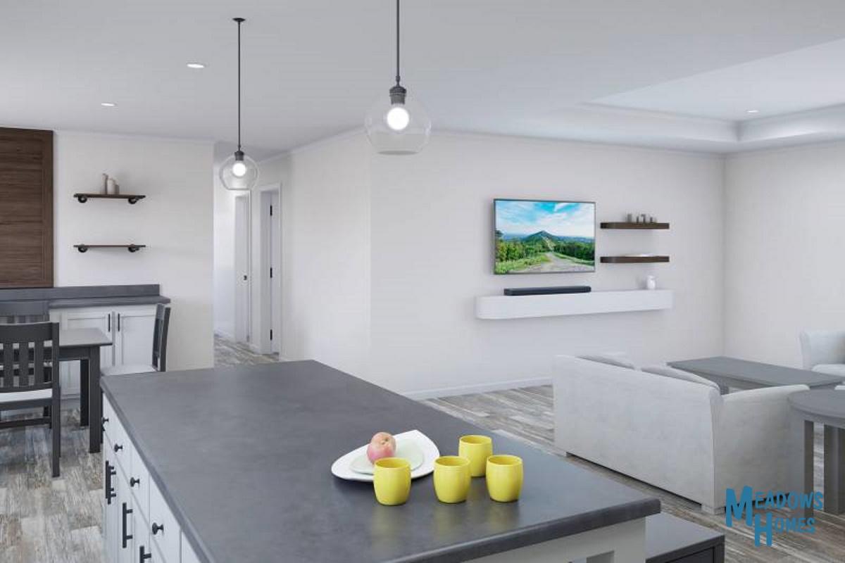Island Kitchen & Living Room